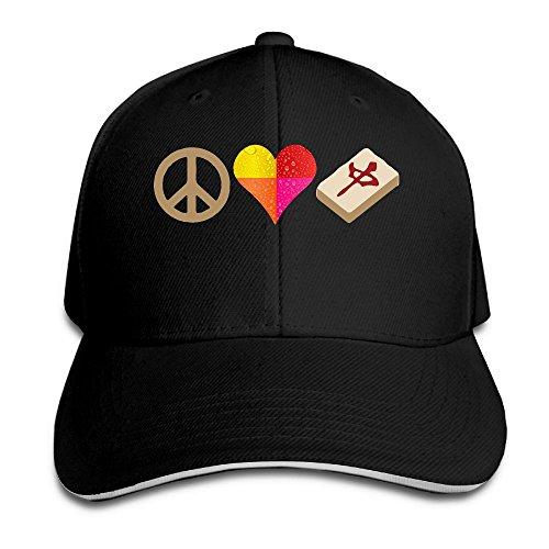 Love Mahjong (Sandwich Cap Peace Love Mahjong Durable Baseball Cap Hats Adjustable Peaked Trucker Cap)