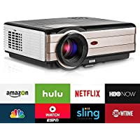 Wifi Wireless Video Projector LED LCD 3500lumen, Android Projectors Outdoor Support HD 1080P Airplay Apps with HDMI USB TV Speaker & Remote Multimetia Smart Beamer for Home Theater Cinema
