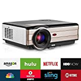 Android Wireless LCD Home Entertainment Projector Wxga Support 1080P 3500 Lumen LED Video Projectors with WiFi HDMIx2 USBx2 Aux Audio VGA Smart Multimedia Beamer for Outdoor Theater iPhone iPad DVD