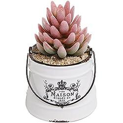 Rustic White Ceramic French Country Maison Pail Design Succulent Planter Pot / Decorative Accessory Jar