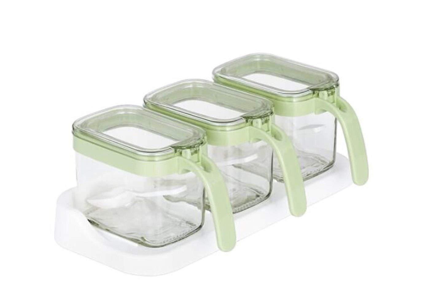 MINGRUIGONGMAO Seasoning box, multi-function kitchen salt and sugar flavored storage box, home with lid creative seasoning box, green spoon spoon box Plush toys (Color : Green) by MINGRUIGONGMAO