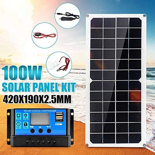Zhang Portable Solar-Panel Double, 100W Solar Panel 18V Dual USB Mit 3W LED-Lampe + 10A USB-Solarregler Laderegler Für Auto Outdoor-Camping-Licht