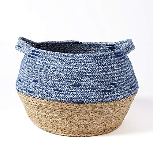 - Modicum | Natural Seagrass and Cotton Rope Basket - Home Décor Accent, Belly Basket, Plant Pot Cover, Nursery Hamper, Housewarming Gift, Modern Woven, Creative Storage