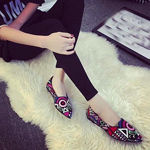 Mocassins Pour Femmes, Femmes Mocassins Multicolores Léger Slip On Flats Mocassins Broderie Mule Ballet Chaussures Multicolore