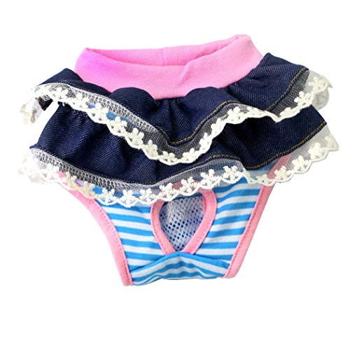 Pet Dog Physiological Shorts Puppy Diapers Pants Breathable Panties Pet Sanitary Underwear Briefs Elastic Diaper Underpants with Jeans Bubble Skirt(S: Waist 20cm, Jeans)