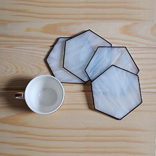 Modern hexagon white coasters made of stained glass Set of 4