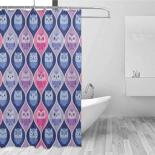 SONGDAYONE Waterproof Shower Curtain Owl Tired Eyes Closed Sleeping Owls Silent Flight Kids Vertical Design Illustration Easy to Care Pink Purple Blue W55 xL72