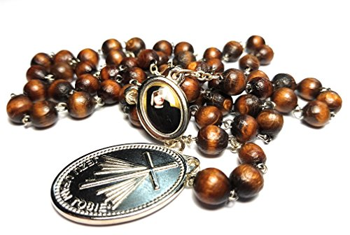 Saint Faustina Kowalska Mystic and Visionary True Relic Chaplet Apostle Divine of Mercy with Miraculous Medal Jesus I Trust in You Rosary Based Three O' Clock Prayer Poland Polish Novena (Brown) ()