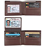 RFID Blocking Cowhide Leather Bifold Wallet for Men with 2 ID...