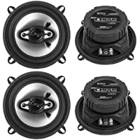 4) NEW BOSS NX524 5.25 600W 4-Way Car Audio Coaxial Speakers Stereo Black 4 Ohm