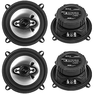 Sale 4) NEW BOSS NX524 5.25' 600W 4-Way Car Audio Coaxial Speakers Stereo Black 4 Ohm