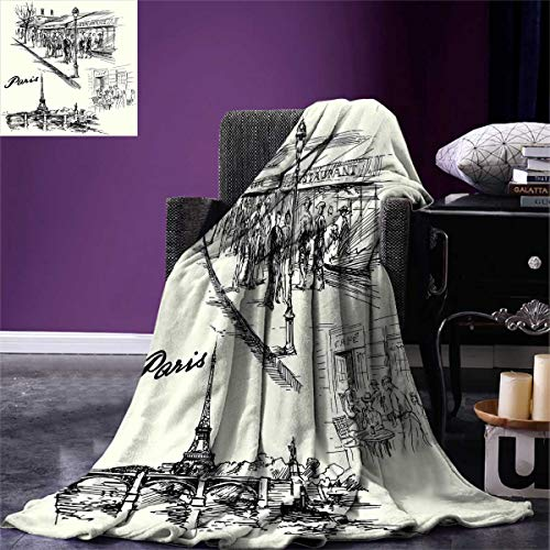 Eiffel Tower,Couch Blanket,Paris Sketch Style Cafe Restaurant Landmark Canal Boat Lantern Retro Print,Custom,Black White,Size:60''x50'' by Anlongfive