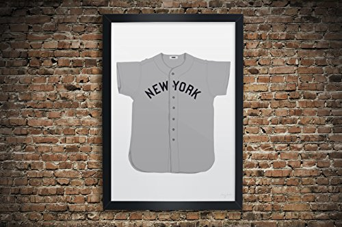 "Vintage New York Yankees Baseball Jersey Illustrations - Premium Print: Paper or Large Giclee Sports Memorabilia Wall Art 13"" x 19"", 18"" x 24"", 24"" x 36"""