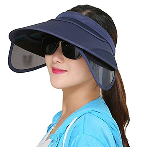 VORCOOL Unisex Summer Sun Hats Retractable Sun Visor Cap Wide Brim for Outdoor Sports Beach Vacation Hiking Golf (Dark Blue) ()