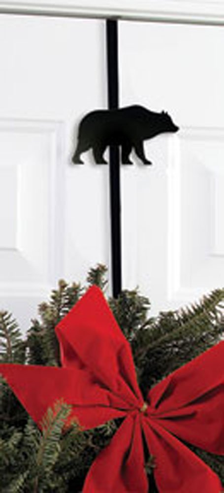 Iron Bear Christmas Hoiday Wreath Hanger - 13'' Winter Door Hook, Wreath Hook for Front Door,Chrstimas Decorations