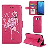 Aipyy Galaxy S8 Plus Case,[Card Slots] Wallet Folio Style PU Leather Glitter Powder Flamingo Emboss Flip Case Kickstand Cover & Magnetic Closure for Samsung Galaxy S8 Plus 6.2'' [Rose]