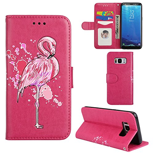 Aipyy Galaxy S8 Plus Case,[Card Slots] Wallet Folio Style PU Leather Glitter Powder Flamingo Emboss Flip Case Kickstand Cover & Magnetic Closure for Samsung Galaxy S8 Plus 6.2'' [Rose] by Aipyy (Image #6)