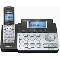 VTEDS6151 - VTech DS6151 DECT 6.0 2-Line Expandable Cordless Phone with Answering System, Silver/Black with 1 Handset