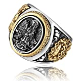 MetJakt Vintage 925 Sterling Silver Holy Buddhism Goddess Ring with Lotus Hand Carved Ring for Men Fine Jewelry (12)