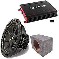 Kicker 10C12D4 12 DVC Comp Sub, Crunch PX2000.1D 2000 Watt Max Mono Amp, Amp Kit, Car Hatch Box