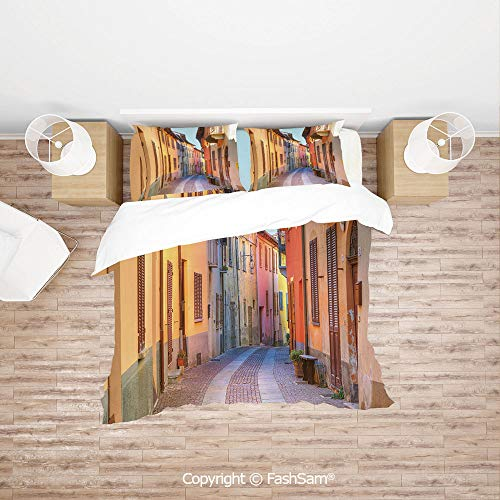 (FashSam Duvet Cover 4 Pcs Comforter Cover Set Narrow Paves Street Among Old Houses in Town Serralunga DAlba Piedmont Decorative for Boys Grils Kids(King))