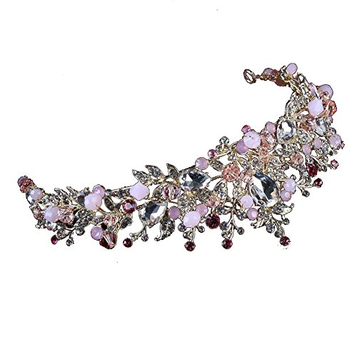 Shuohu Handmade Bride Headdress, Baroque Wedding Headdress Rhinestone Crown Hair Jewelry Bridal Tiara Charm