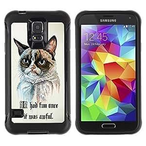 Hybrid Anti-Shock Defend Case for Samsung Galaxy S5 / Grumpy Cat Painting