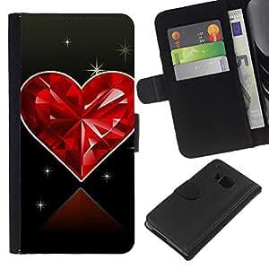 KLONGSHOP // Tirón de la caja Cartera de cuero con ranuras para tarjetas - Corazón del diamante del amor - HTC One M9 //