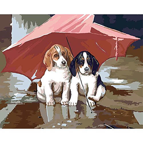 DIY Oil Painting Paint by Numbers Kit with Brushes Paint for Adults Kids Beginner Hand Paintwork Beagle Dog Under Umbrella 16x20 inch(No Framed)