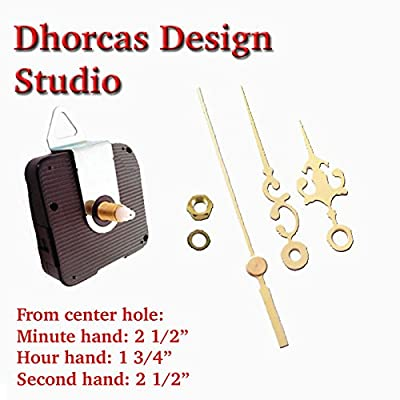 "Dhorcas (#10) 1/2"" Threaded Motor and Gold 2 1/2"" Hands and Hanger, Quartz Clock Movement Kit for Replacement"