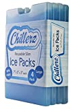 CHILLERZ Large Reusable Ice Pack (4 Pack) Lunch Box - Long-Lasting Gel - Super Slim Lightweight Cool Cooler Packs - Makes Your Food Stay Fresh, Cold Tasty