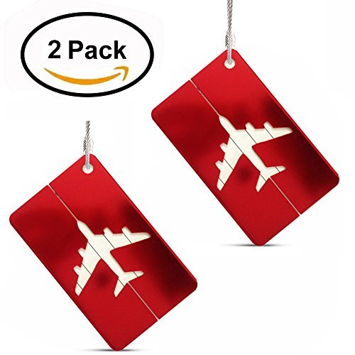 Set of 2 Luggage Tags Labels, Aluminum Metal Airplane Travel Suitcase Bag Baggage ID Name Address Tag Label with Screw Chain, (Metal Luggage Tag)