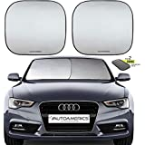 Autoamerics Windshield Sun Shade - 2 Pieces of Foldable 28'x32' Car Front Window Sunshade - Heat Reflector - Universal Fit Sun Blocker Visor Protector - Blocks Max UV Rays and Keeps Your Vehicle Cool