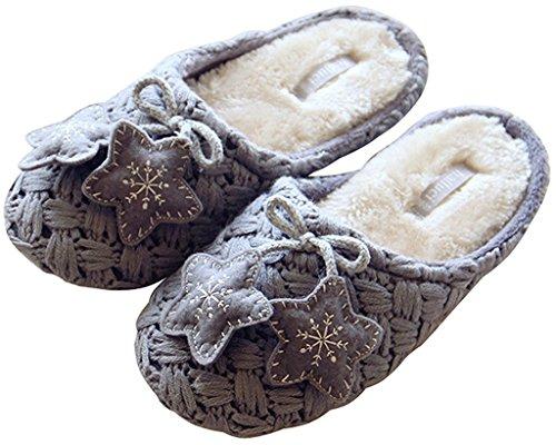 Pantofole Autunno Ciabattine Morbide Coperte Da Skidproof Da Donna Autunno Inverno Maggio Con Ciabatte A Maglia Stelle