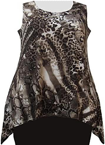 A Personal Touch Women's Plus Size Leopard Abstract Hankie Hem Tank Top