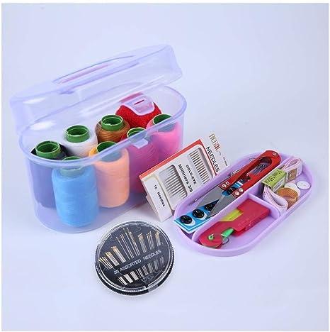 Caja de costura para caja de tesoros, kit de costura portátil pequeño, kit de costura, almacenamiento multifuncional doméstico@Morado: Amazon.es: Hogar