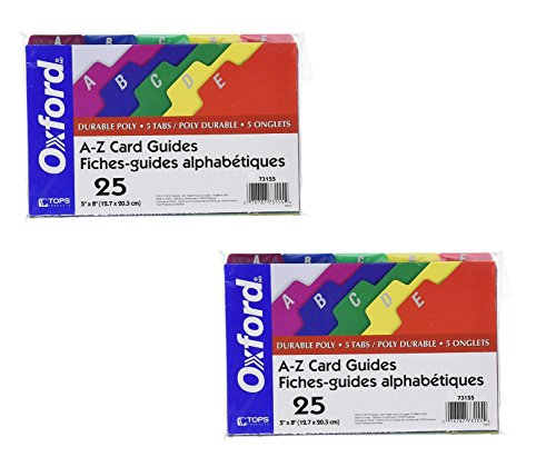 - Oxford Poly Index Card Guides, Alphabetical, A-Z, Assorted Colors, 8