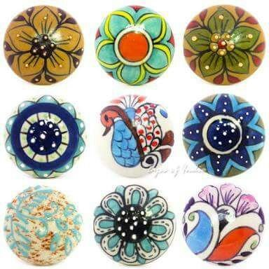Artncraft 10 Pieces Set Dotted Ceramic Cabinet Colorful Knobs Furniture Handle Drawer Pulls Peacock (Design Cabinet Pull)