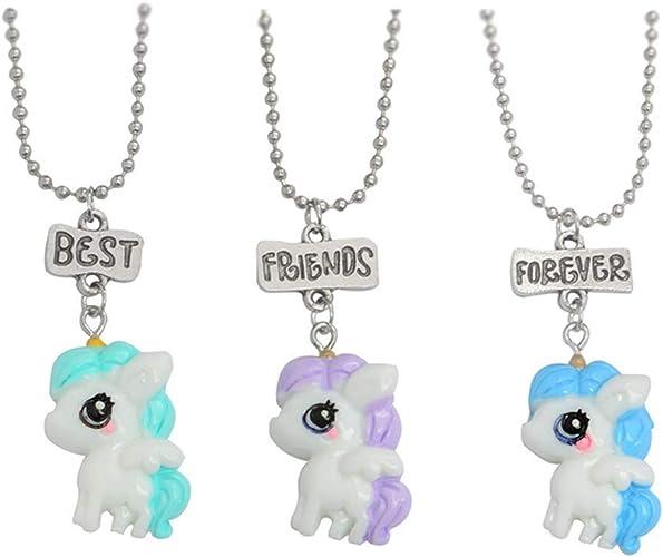Gostear Best Friends Forever Unicorn Necklace Set For 3 Girls Kids Bff Cartoon Friendship Pendant Women Amazon Ca Jewelry
