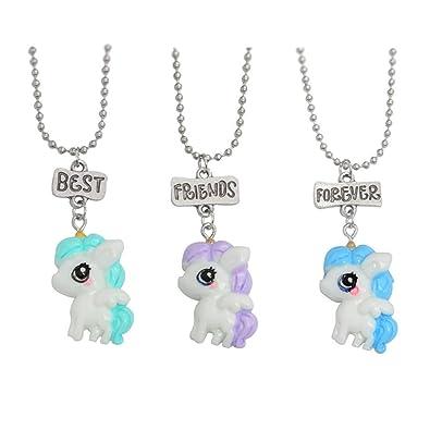 Amazon Com Gostear Best Friends Forever Unicorn Necklace Set For 3