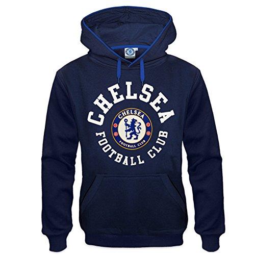 Chelsea FC Official Soccer Gift Mens Fleece Hoody Navy Blue XXL ()