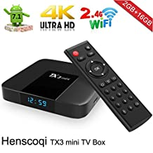 Henscoqi TX3 MINI Android TV Box 16GB Momery Support 1080P 4K Wifi H.265 Android 7.1 [Pure Version]