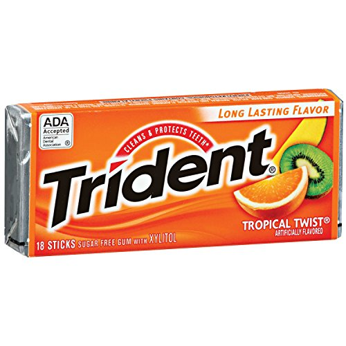 012546619592 - Trident Sugarless Gum, Tropical Twist, 18-Count Packages (Pack of 12) carousel main 0