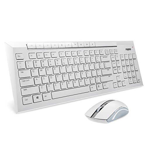 Rapoo 2.4G Multimedia Wireless Keyboard and Mouse 2-in-1 Combo for PC, Mac (White)