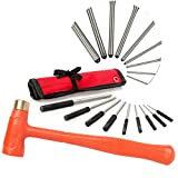 Pin Punch Set & 1.5 lb Dead Blow Hammer, Great for Gunsmiths, Gun Building, Handymen & Watchmakers, Use to Remove Pins on Cars & Boats - TuffMan Tools