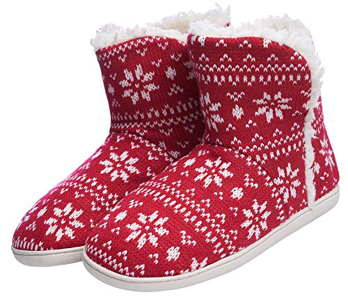 Women's Comfort Warm Faux Fleece Fuzzy Ankle Bootie Slippers Plush Lining Slip-on House Shoes Anti-Slip Sole Indoor/Outdoor (7-8 M US Women, Red Flower) (The Best Foot Warmers)
