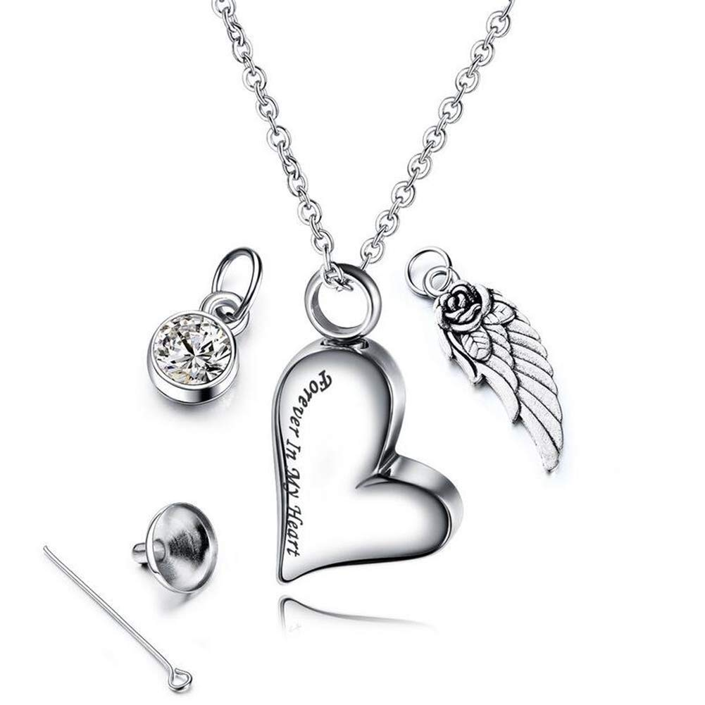 For Souvenir Urn Necklace With Crystal Stone Birth Pendant Heart Urn Funeral Necklace Memorial With Angel Wings For Women Men Pet Urn Necklace