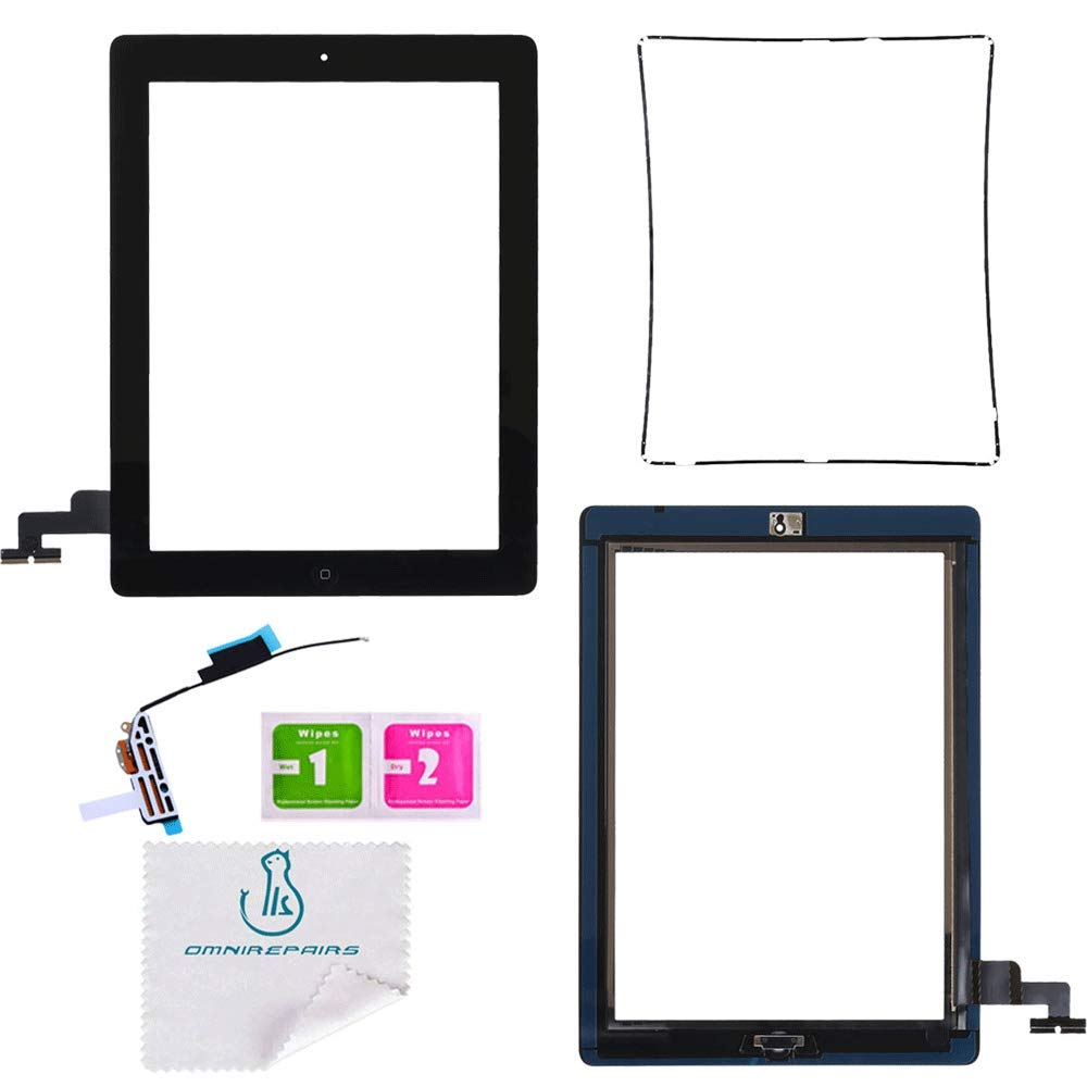 OmniRepairs Touch Screen Glass Digitizer OEM Assembly Replacement with Home Button Compatible for iPad 2 (A1395, A1396, A1397) with Adhesive Tape and Midframe Bezel (Black)