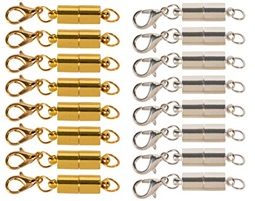 Magnetic Lobster Clasps - 16-Pack Small Clasps, Lobster Claw Clasps, Snap Hooks, Trigger Snaps, for Art Craft, Jewelry Making, Necklaces, Bracelets DIY, Silver and Gold, 0.25 x 0.25 x 1.5 Inches