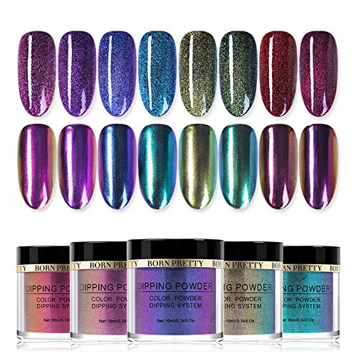 - BORN PRETTY 10ml Dipping Chameleon Powder System Without Lamp Cure Natural Dry Mirror Effect Glitter 8 colors
